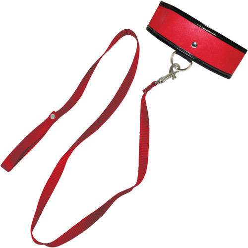 Sex & Mischief Leash And Collar by Sportsheets - Red & Black