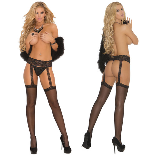 Elegant Moments Sheer Thigh-High With Lace Garter Belt
