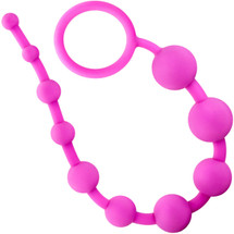 Luxe Silicone 10 Anal Beads by Blush Novelties - Pink