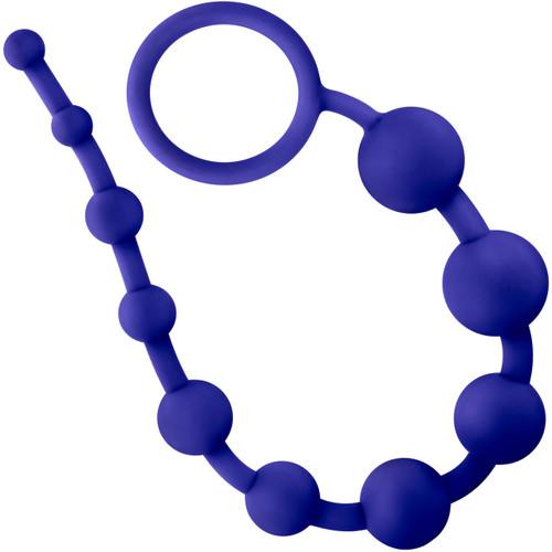 Luxe Silicone 10 Anal Beads by Blush Novelties - Indigo