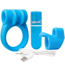 Charged CombO Kit #1 Silicone Cock Ring & Fingertip Sleeve By Screaming O - Blue