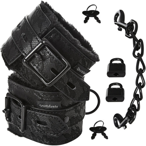 Sincerely Lace Fur Lined Hand Cuffs by Sportsheets