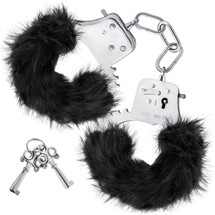 Temptasia Cuffs By Blush Novelties - Black Plush Furry Handcuffs