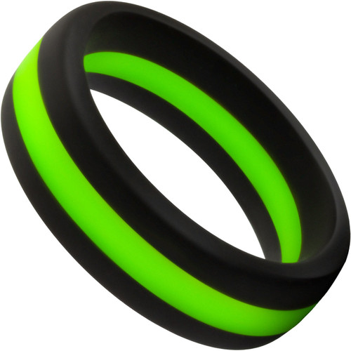 Performance Silicone Go Pro Cock Ring By Blush - Black & Green