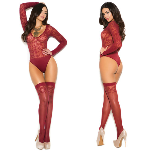 Elegant Moments Sheer Teddy with Matching Stockings - Burgundy