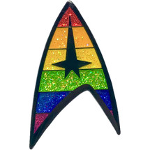 "Glitter Filled Trek Pride 1.5"" Soft Enamel Pin By Geeky And Kinky"