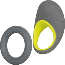 Link Up Edge Silicone Rechargeable Vibrating Cock Ring By CalExotics - Grey & Yellow