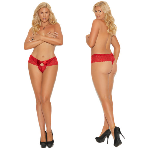 Elegant Moments Lace Thong With Satin Bow Front - Red