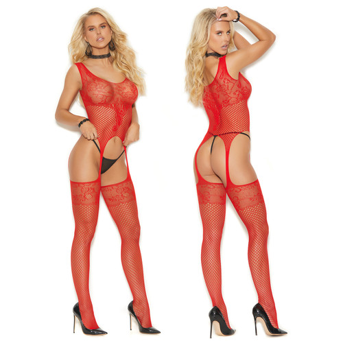 Elegant Moments Fishnet And Lace Bodystocking - Red