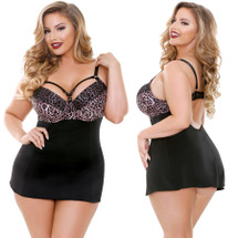 Curve Josephine Leopard Print Chemise With G-string by Fantasy Lingerie