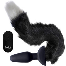 Tailz Waggerz Vibrating & Wagging Silicone Anal Plug With Black & White Faux Fur Tail & Remote