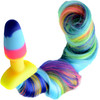 Tailz Rainbow Silicone Anal Plug With Unicorn Faux Fur Tail