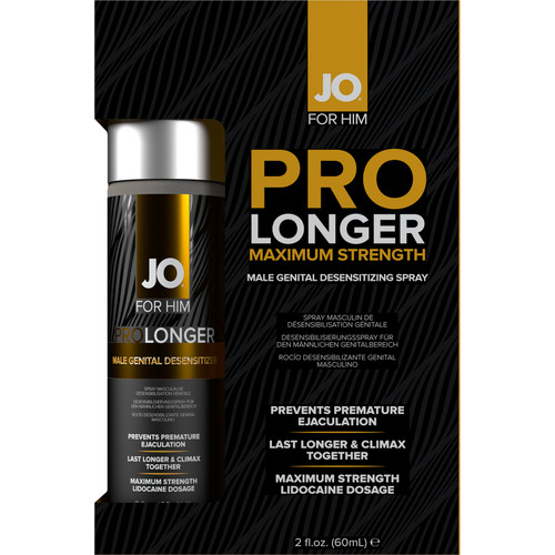 JO Prolonger Maximum Strength Penis Desensitizing Spray With Lidocaine 2 oz