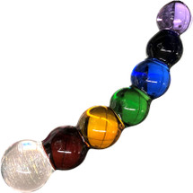 Rainbow Bubble Glass Dildo with Dichrioic Bulb By Crystal Delights