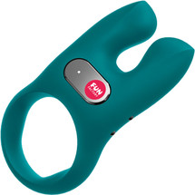 Fun Factory NŌS Rechargeable Waterproof Vibrating Silicone Cock Ring - Deep Sea Blue