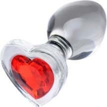 Booty Sparks Heart Gem Glass Anal Plug - Medium