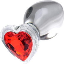 Booty Sparks Heart Gem Glass Anal Plug - Large
