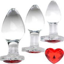 Booty Sparks Heart Gem Glass Anal Plug 3 Piece Set