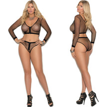 Elegant Moments Black Fence Net Cami with Matching Booty Shorts