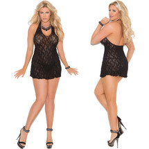 Elegant Moments Lace Halter Mini Dress - Black