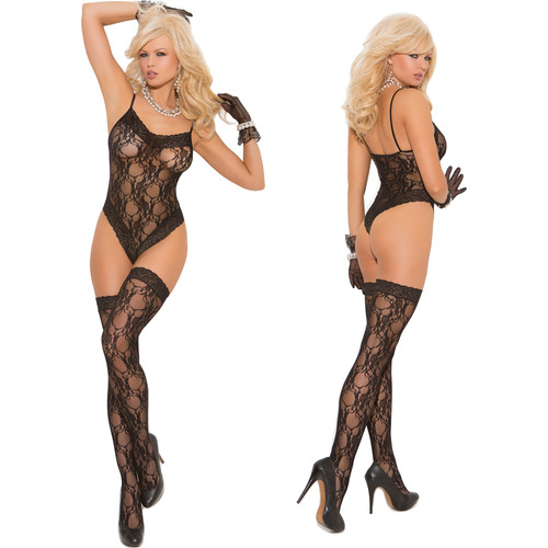 Elegant Moments Lacy Teddy with Matching Stockings - Black