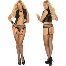 Elegant Moments Black Fence Net Garter Belt with Matching Stockings