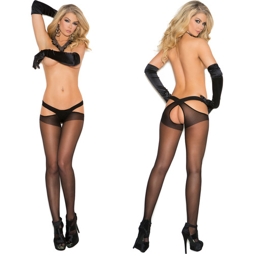 Elegant Moments Sheer Criss Cross Suspender Pantyhose - Black