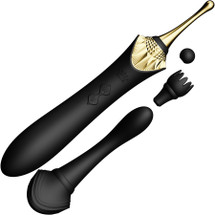 ZALO Bess Rechargeable Clitoral Massager With 3 Silicone Attachments - Obsidian Black