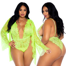 Lime Floral Lace Teddy with Matching Robe by Leg Avenue