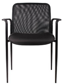 B6909 MESH BACK STACKABLE FABRIC GUEST CHAIR WITH ARMS
