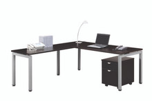 Elements Benching L-Desk Set with Mobile 2 Drawer Storage Pedestal
