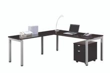 Elements Benching L-Desk Set with Mobile 2 Drawer Storage Pedestal