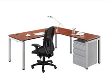Elements Benching L-Desk Set with 3 Drawer Storage Pedestal