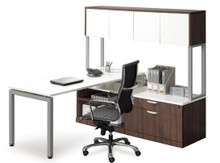Elements Benching L-Desk Set with Storage Bench and Hutch