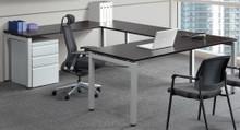Elements Benching U-Desk Set with 3 Drawer Storage Pedestal