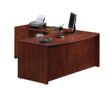 Performance Laminate L Desk with Bow Front  Desk and 2 Storage Pedestals