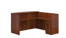Performance Laminate Reception L Desk with Bow Front  Desk and 2 Storage Pedestals