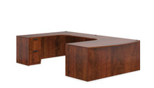 Performance Laminate U Desk with Bow Front Desk and 2 Storage Pedestals
