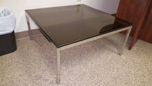 Used Steelcase Knoll Style Vintage Coffee Table with Smoked Glass