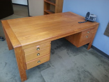D-Scan Vintage Mid Century Modern Teak Desk and Credenza Set with 2 Matching Benny Linden Teak Guest Chairs