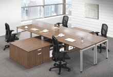Elements 4 Person Benching Workspace with Lower Storage and Glass Dividers