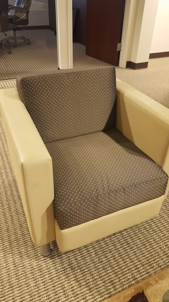 4 Used Mock Leather Reception Lounge Chairs
