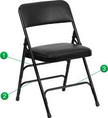 Metal Folding Chairs with Padded Seat and Back, Vinyl