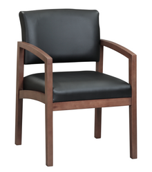 Wood Guest Chair in Leather or Fabric