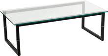 FFI 0701 Glass Coffee Table with Black Legs