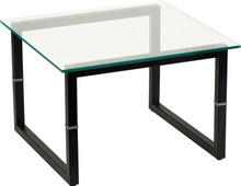 FFI 0700 Glass End Table with Black Legs