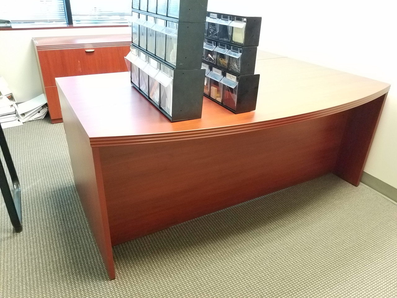 Used Logiflex Executive Desk Set LH with Storage and Matching Bookcase