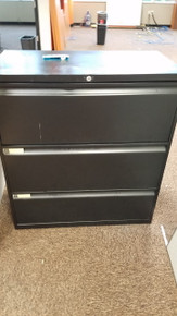 4 Used Teknion 36W 3 Drawer Lateral Files in Black