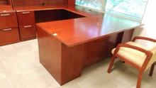 Used Cherry Veneer U Desk - No Hutch
