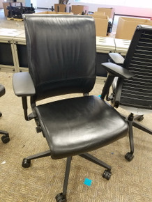 12 Used Steelcase Think Black Leather Fully Adjustable Executive or Conference Chairs